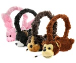 Ultimateaddons® Kids Fluffy Animal 3.5mm Retractable Headphones